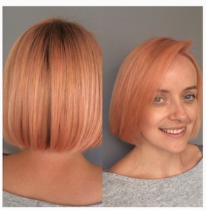 pastel apricot coloured hairstyle
